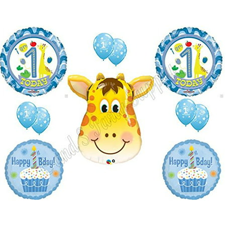 BOY'S 1ST BIRTHDAY GIRAFFE SAFARI Happy Balloons Decoration Supplies Jungle First - Boys Birthday Supplies