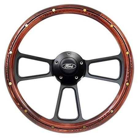 New World Motoring F Series Steering Wheel & Black Ford Horn 14