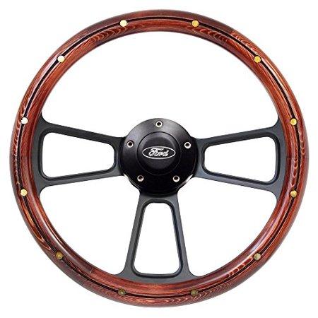 "New World Motoring F Series Steering Wheel & Black Ford Horn 14"" Dark Pine, Black Billet SHIPS FREE"