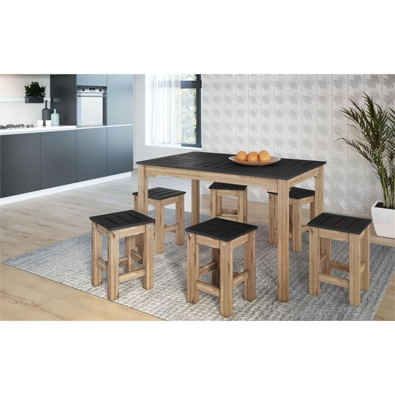 "7-Piece Stillwell 47.25""  Dining Set  in Black and Natural Wood"