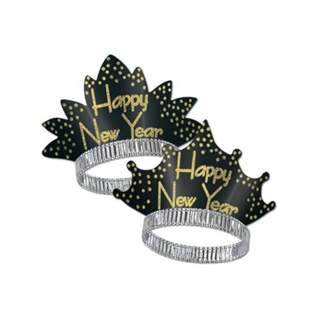 Club Pack Of 50 Sprakling Gold   Happy New Years   Legacy Party Favor Tiaras