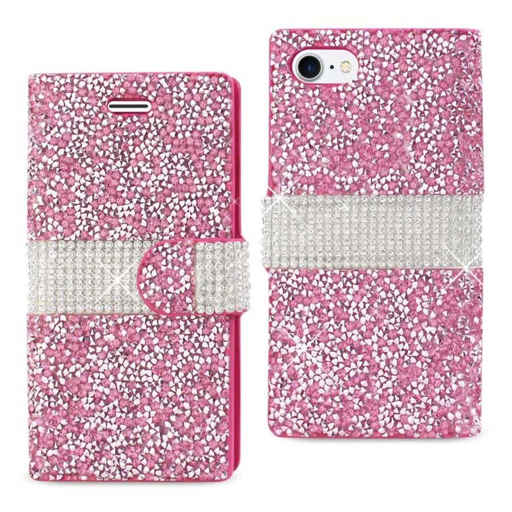 REIKO IPHONE 7 JEWELRY RHINESTONE WALLET CASE IN PINK