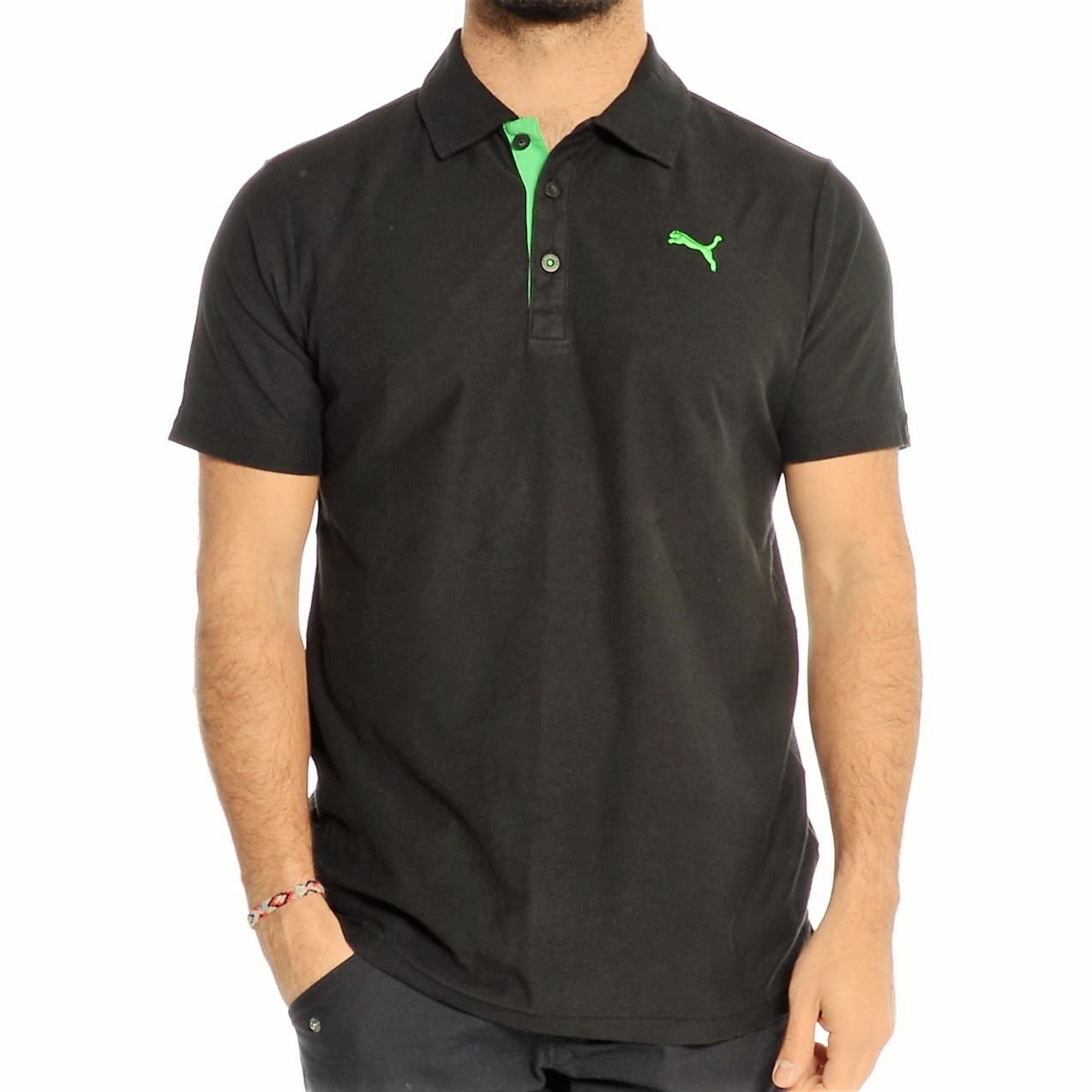 768b560aa57 Puma Short Sleeve Jersey Contrast Polo In Black