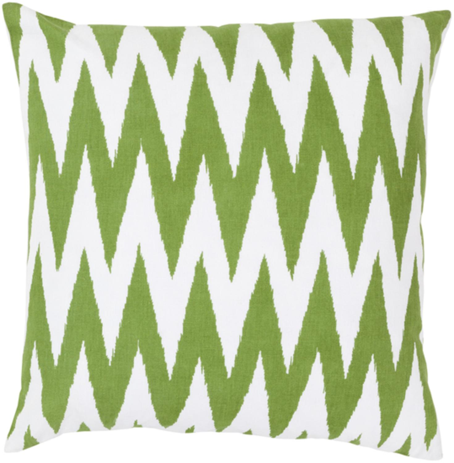 """22"""" Multiplicity White and Lime Decorative Throw Pillow Down Filler"""