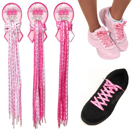 Ribbon Shoe Laces (2 Pair Breast Cancer Awareness Shoe Laces Strings Pink Ribbon Hope Walk)