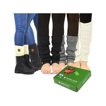 TeeHee Women's Fashion Leg Warmers and Boot Toppers 5- Pack with Gift Box Set (Style-A) (Cheap Furry Leg Warmers Boot Covers)