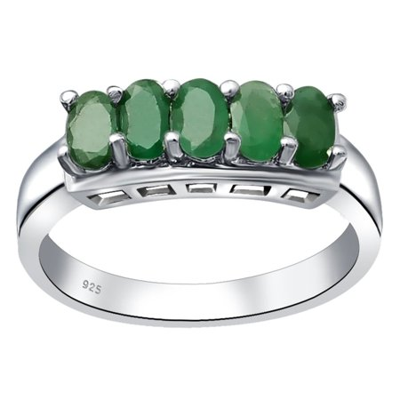 Essence Jewelry Natural Green Emerald 5-Stone Stone Engagement Ring For - Natural Emerald Ring