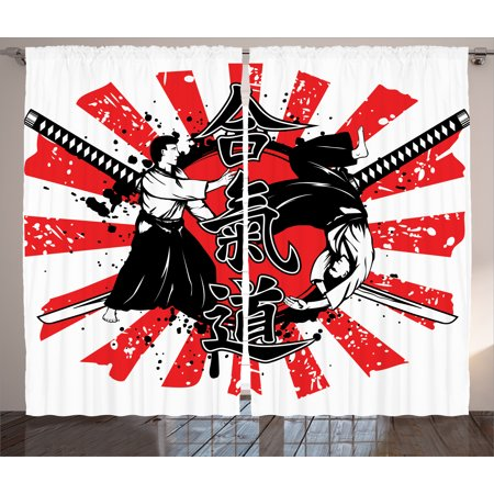 Japanese Decor Curtains 2 Panels Set, Crossed Samurai Swords Hieroglyph Background Two Ronin in Aikido Eastern Fight Style, Living Room Bedroom Decor, Red White, by
