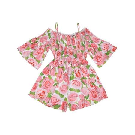 Kate Mack Girls Pink Rose Flower Allover Print Off-Shoulder (Kate Mack Tunic)