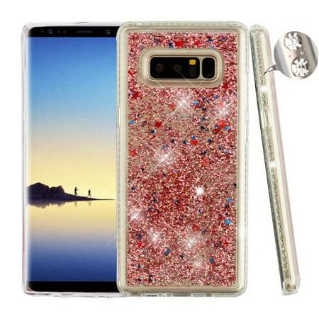 Samsung Galaxy Note 8 Phone Case BLING Hybrid Liquid Glitter Quicksand Diamante Frame Rhinestones Rubber Silicone Gel TPU Protector Hard Cover - Rose Gold