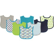 Luvable Friends Baby Boy and Girl Drooler Bibs, 8-Pack - Blue Geometric