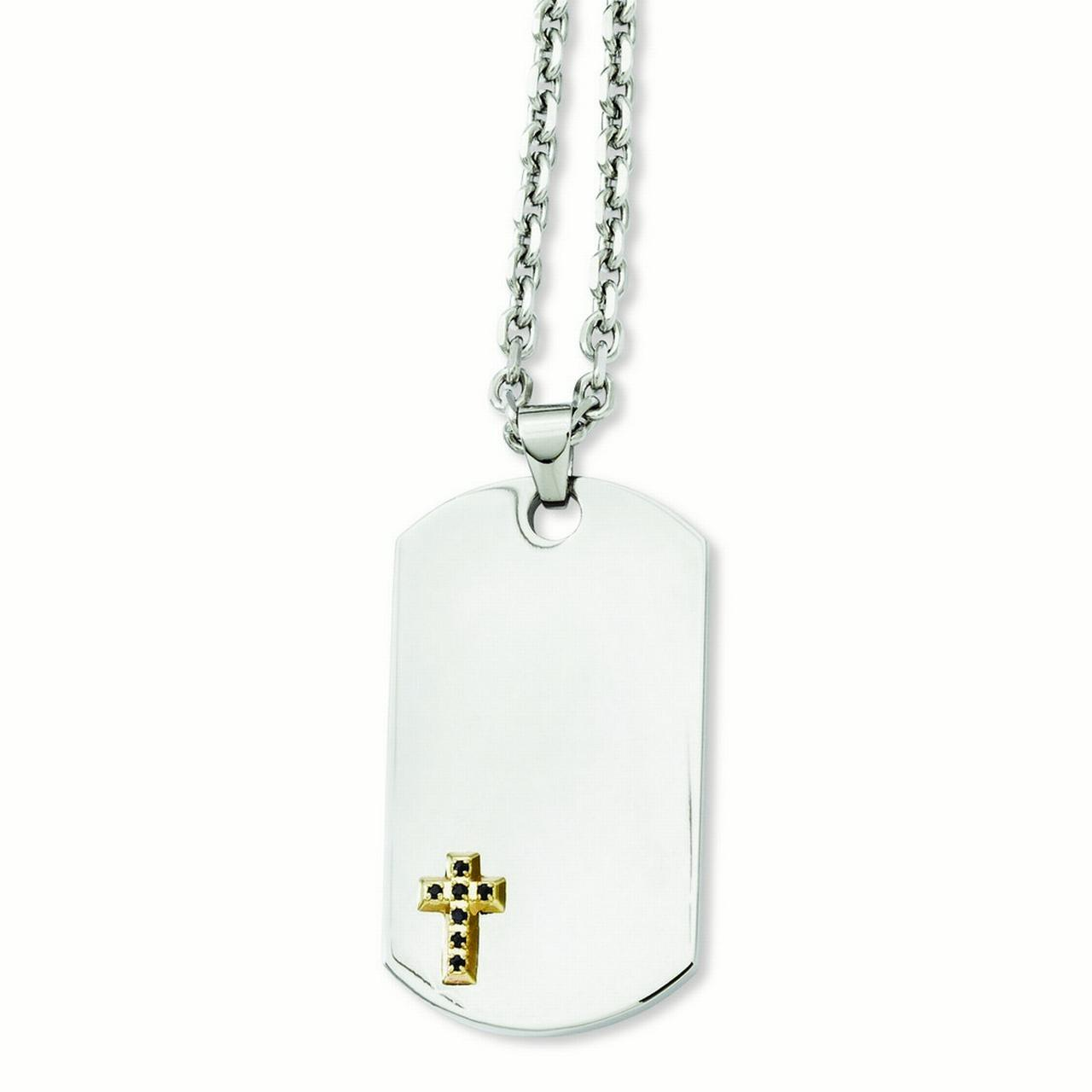Stainless Steel and 14k With Sapphires Cross Dog Tag Pendant 24inch Necklace 24 Inch by