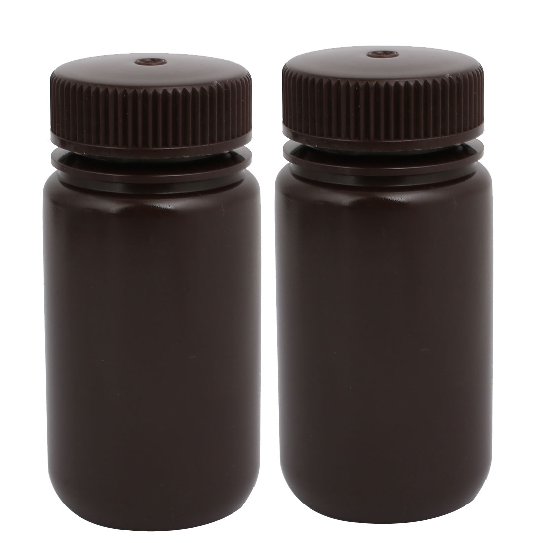 100ml HDPE Plastic Rectangle Shape Laboratory Bottle Brown 2pcs
