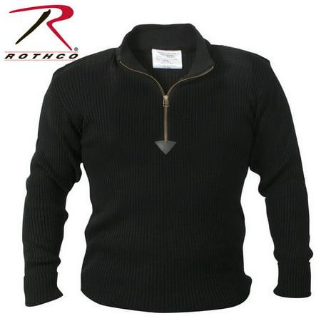 (Price/EA)Rothco 3370 Quarter Zip Acrylic Commando Sweater-Black-3XL - Acrylic Sweaters