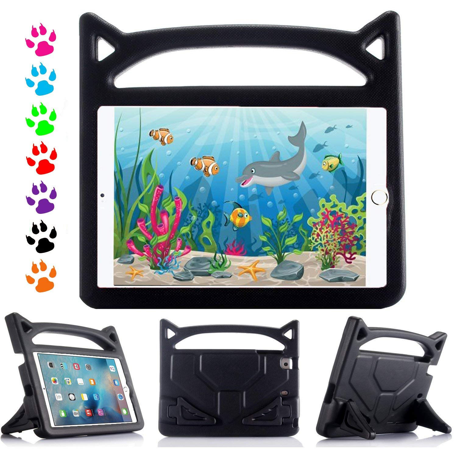 iPad Mini 4 3 2 1 Kids Case - Allytech Light Weight EVA Kids Shock Proof Handle Friendly Convertible Stand Protective Kids Protector Cover Case for Apple iPad Mini 4 3 2 1 Tablet 7.9 inch - Black