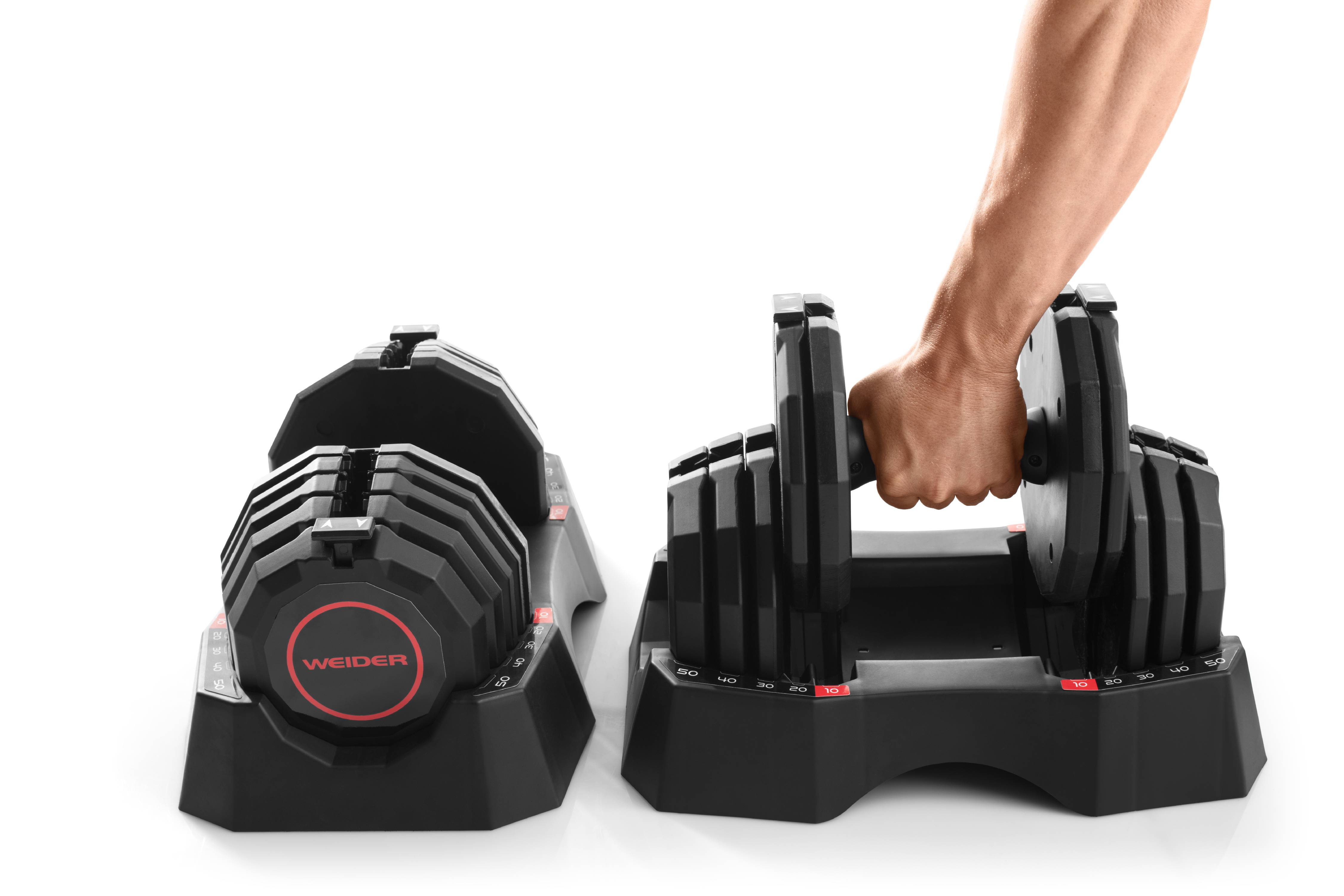 4109419838a Weider Select-a-Weight 50 Lb. Adjustable Dumbbell Set and Storage Tray -  Walmart.com