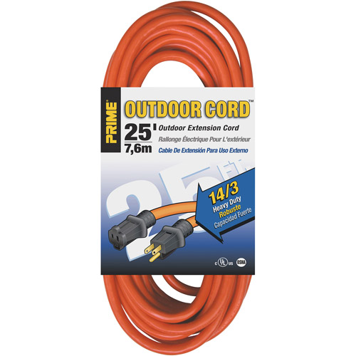 Prime Wire 25-Foot 14/3 SJTW Heavy Duty Outdoor Extension Cord, Orange