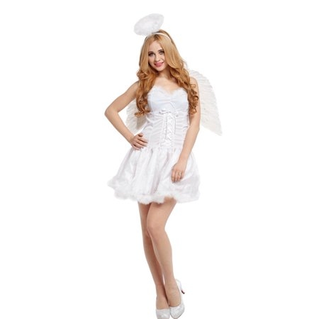 White Angel Costume For Women (Women's Heavenly Halo Angel Costume with White Dress)