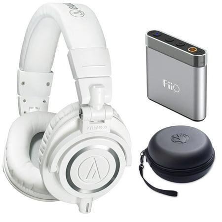 190e3245c08 Audio Technica ATH-M50X Professional Studio Headphones (White) Bundle With  Bonus Slappa HardBody
