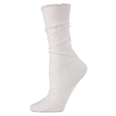MeMoi Allure Lace Floral Slouch Crew Socks | Women's Net Fashion Socks One Size / White MWF - 80s Slouch Socks