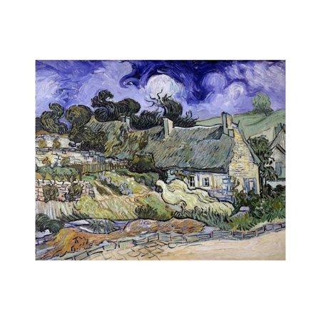 Thatched Cottages at Cordeville, Auvers-Sur-Oise by Vincent Van Gogh Print Wall (Van Gogh Vincent Thatched Cottages)