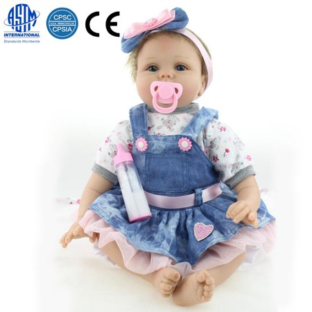 Zimtown Reborn Baby Doll Realistic Newborn Lifelike Vinyl Girl Baby Doll Handmade 22inch