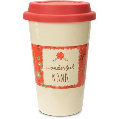 Pavilion - Wonderful Nana Pink Floral Stoneware Travel Mug 12 (Pink Stoneware)