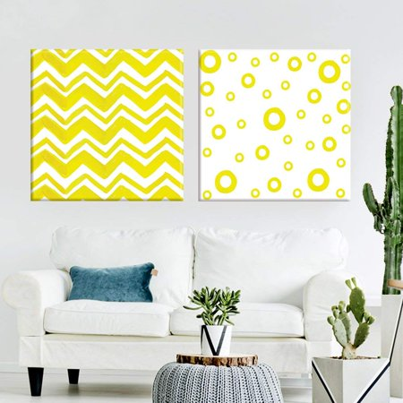 wall26 2 Panel Square Canvas Wall Art - Abstract Yellow Chevron and Circle Patterns - Giclee Print Gallery Wrap Modern Home Decor Ready to Hang - 12