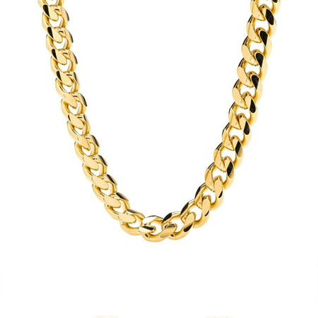 Drop Round Link Necklace (Cuban Link Chain - 9MM Round, Smooth, Thick 24K Gold Plated Necklace, Hip Hop Fashion Jewelry for Men, Tarnish Resistant, Comes in Box-18