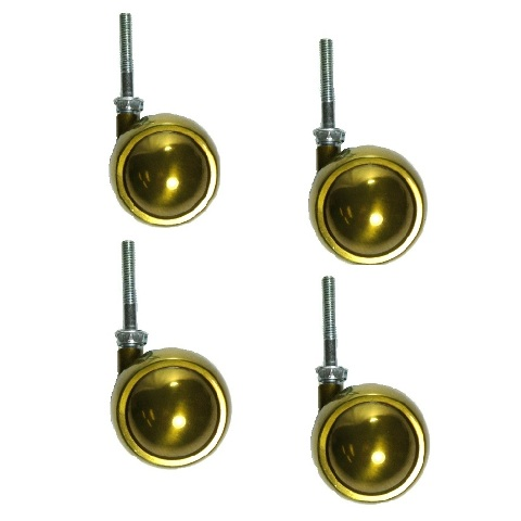 """Set of 4 Swivel Brass Planet Ball Caster 2-1/2"""" with 5/16"""" - 18 x 2"""" Threaded St"""