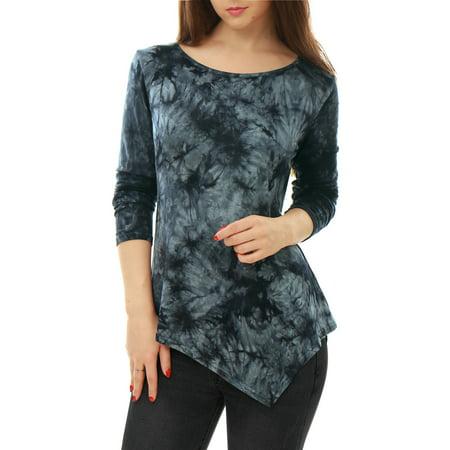 - Women's Long Sleeves Handkerchief Hem Tunic Top
