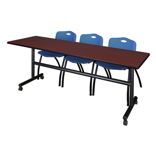 "Kobe 84"" Mahogany Flip Top Mobile Training Table and 3 'M' Stack Chairs, Multiple Colors"
