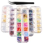 Joyfay 6 Boxes Nail Art Rhinestones Kit 4116 Pieces Beads Luxurious Nail Crystals Nail Studs and Tweezers, Multicolor Nail Studs Rhinestones for Nail Art Decorations 3D Beads Diamonds Flat