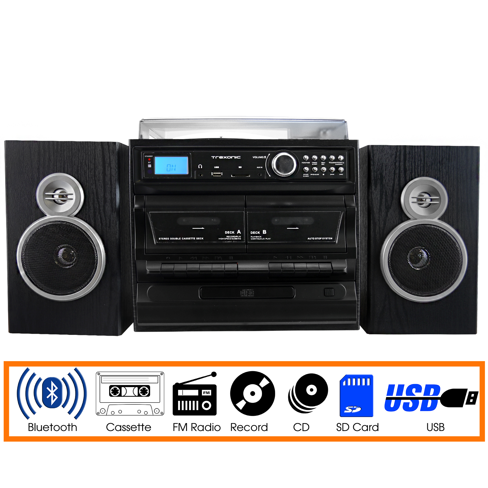 Trexonic 3-Speed Turntable With CD Player, Dual Cassette Player, BT, FM Radio & USB SD Recording and Wired... by Trexonic