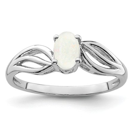 925 Sterling Silver Created Opal Solitaire Engagement Ring Size 10
