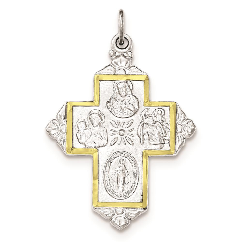 925 Sterling Silver & Gold-Tone 4-Way Medal Cross Polished Charm Pendant