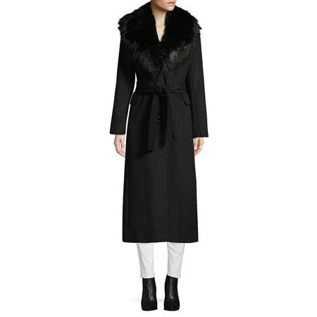 Faux Fur Collar Wrap Coat