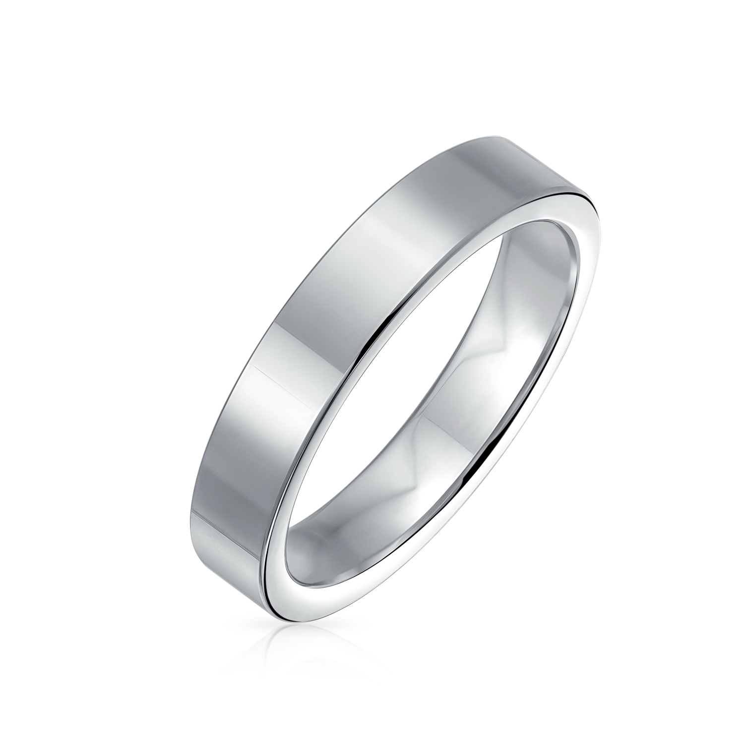 It is just a picture of Plain Simple Flat Cigar Couples Titanium Wedding Band Rings For Men For Women Silver Tone 46MM