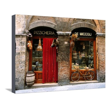 Bicycle Parked Outside Historic Food Store, Siena, Tuscany, Italy Stretched Canvas Print Wall Art By John Elk (Best Way To Store Bikes Outside)