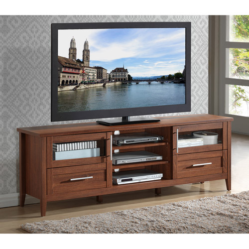 """Techni Mobili 72"""" Emerald Oak 3-Drawer TV Stand for TVs up to 80"""""""