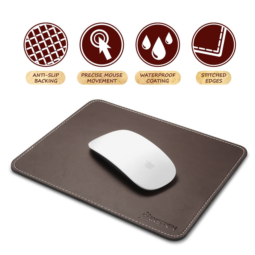 Insten Brown Leather Mouse Pad with Anti-Slip Rubber Base & Waterproof Coating & Elegant Stitched Edges (Size: 7 x 8.7 inches) for Laptop PC Computer Gaming