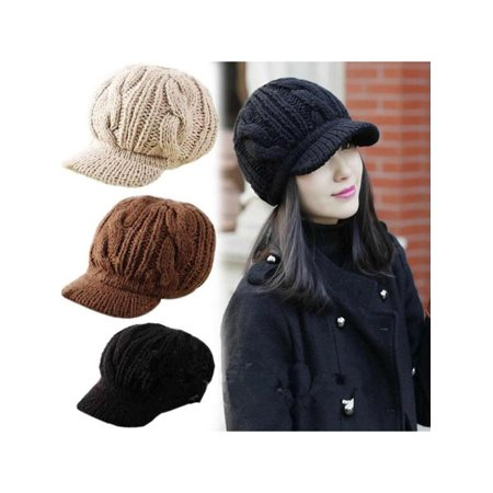- Women New Fashion Winter Warm Crochet Knit Wool Beanie Ski Peaked Hat Cap