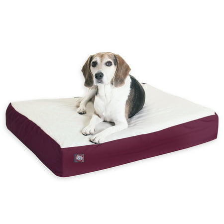 Majestic Pet Poly/Cotton & Sherpa Orthopedic Double Dog Bed Burgundy Medium 24