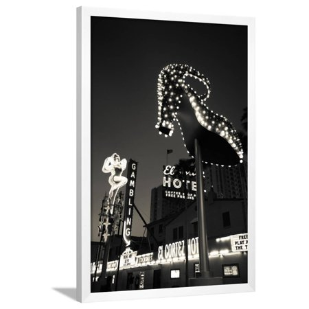 Ruby Slipper Neon Sign Lit Up at Dusk, Fremont Street, Las Vegas, Nevada, USA Framed Print Wall Art By Green Light Collection
