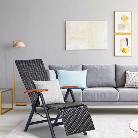 Aluminum Rattan Lounge Chair Recliner Patio Garden Furniture Folding Back - image 5 of 10