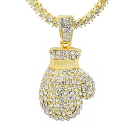 14K Gold Plated Iced Out Hip Hop Bling Boxing Glove Pendant 1 Row Square Cubic Zirconia Princess Cut Stones Tennis Chain 24