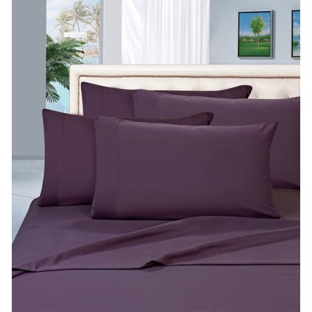 Elegant Comfort 1500 Series Wrinkle Resistant Egyptian Quality Hypoallergenic Ultra Soft Luxury 4-Piece Bed Sheet Set, Queen, Purple ()