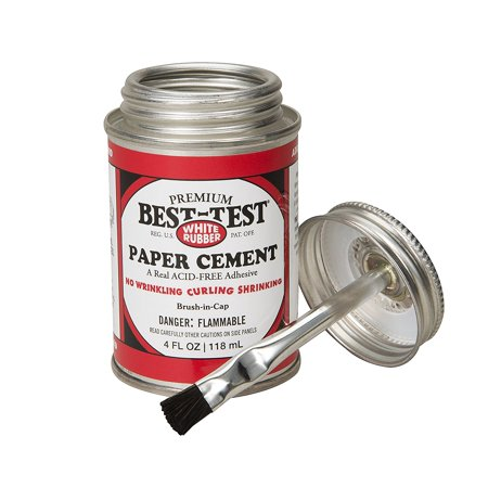 Best-Test Premium Paper Cement 4OZ Can, Ideal for mounting, paper crafts, leatherwork, scrapbooking, and more By
