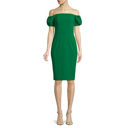 Badgley Mischka Cocktail Dress - Off-The-Shoulder Sheath Dress