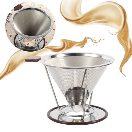 EECOO Portable Pour Over Coffee Dripper Stainless Steel Drip Dripper Double Layer Mesh Coffee Cone Filter Holder